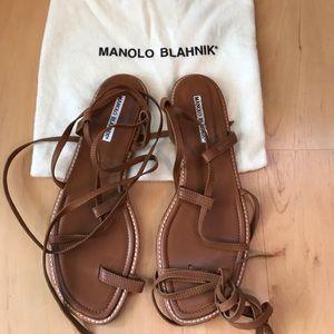 Manolo Blahnik Flat Strap Sandal